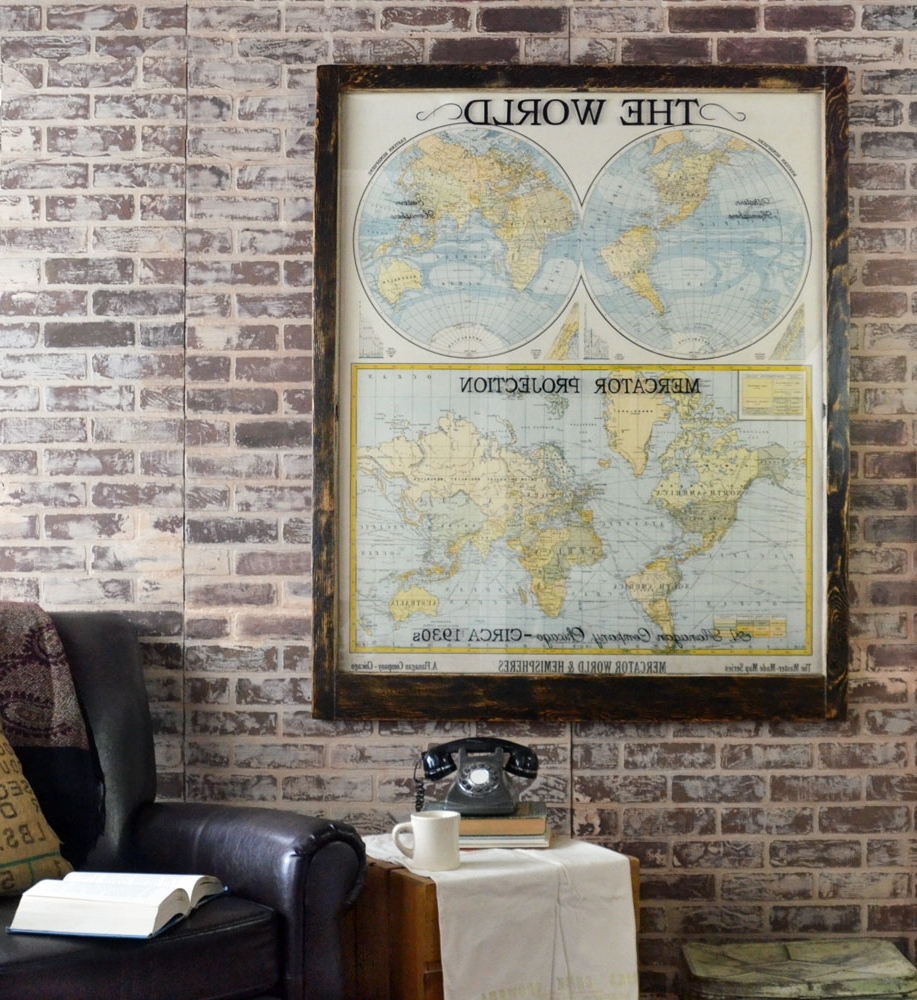 Large Antique World Map Wall Artwork – Office Decor – Antique Map Art With 2018 Chicago Map Wall Art (View 10 of 15)