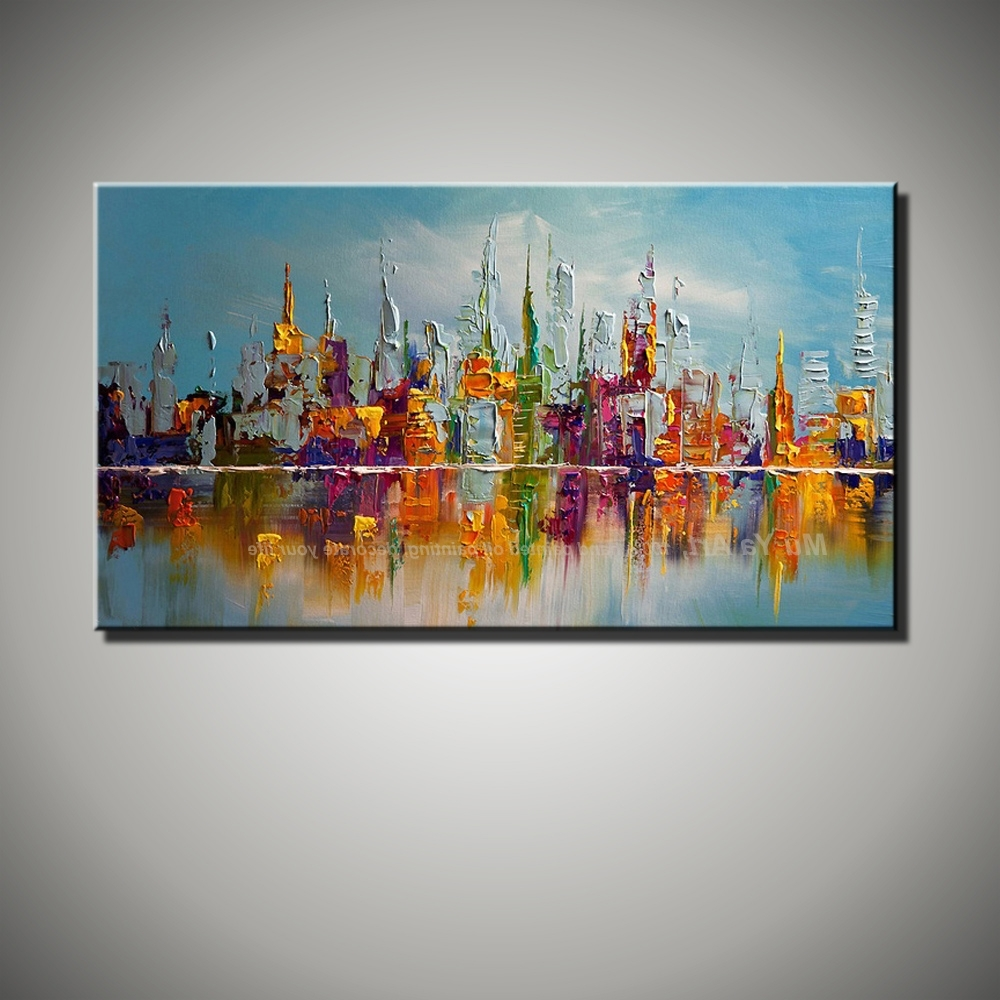 Large Beautilful Landscape Abstract Modern Wall City Painting Knife Regarding Well Known Large Canvas Painting Wall Art (View 4 of 15)