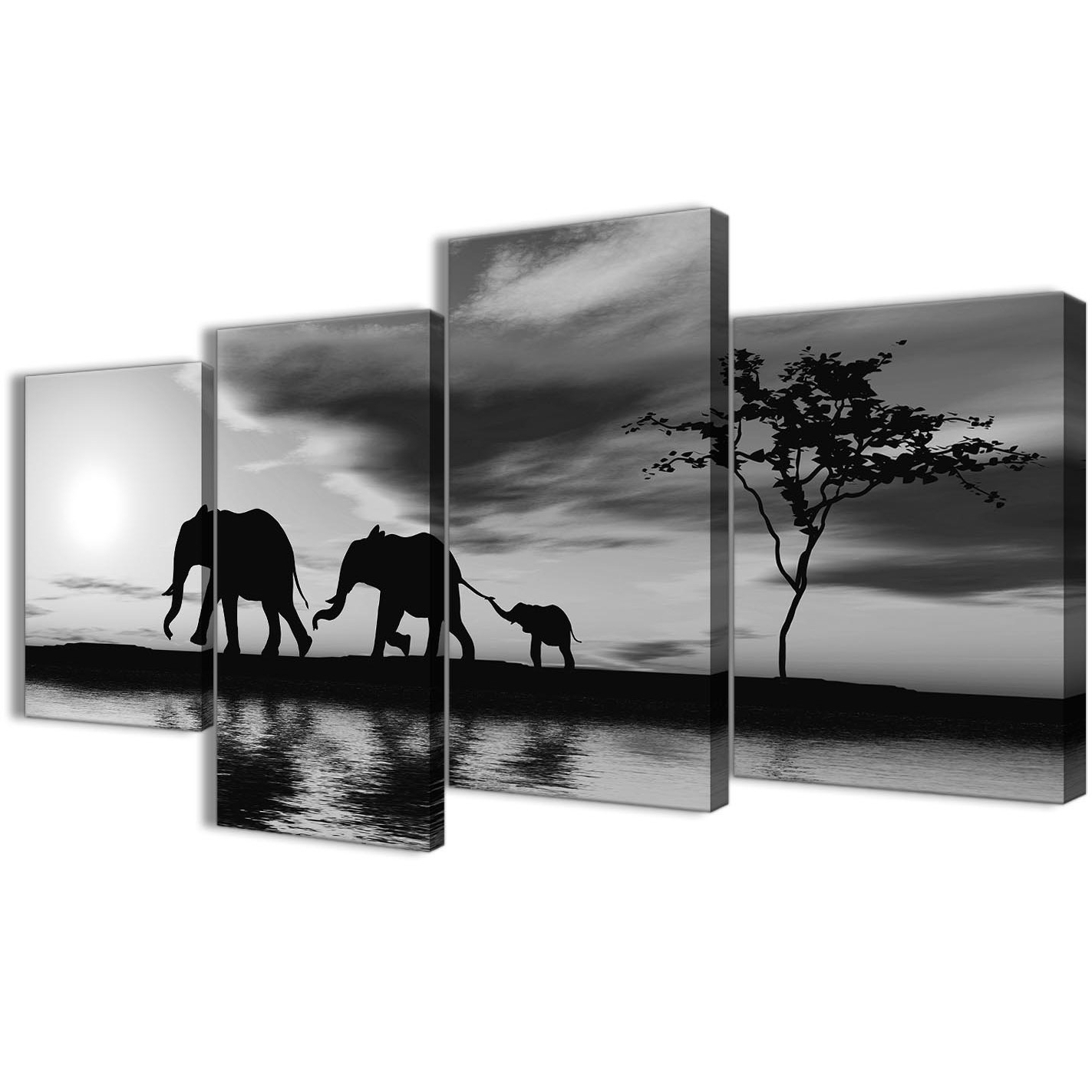 Large Black White African Sunset Elephants Canvas Wall Art Print In Fashionable Black And White Canvas Wall Art (View 11 of 15)