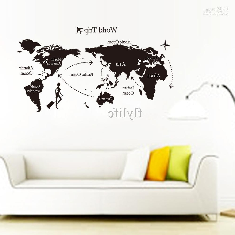 Large Black World Map Wall Decals And Decor Stickers For Living Room Within Latest Vinyl Wall Art World Map (View 4 of 15)