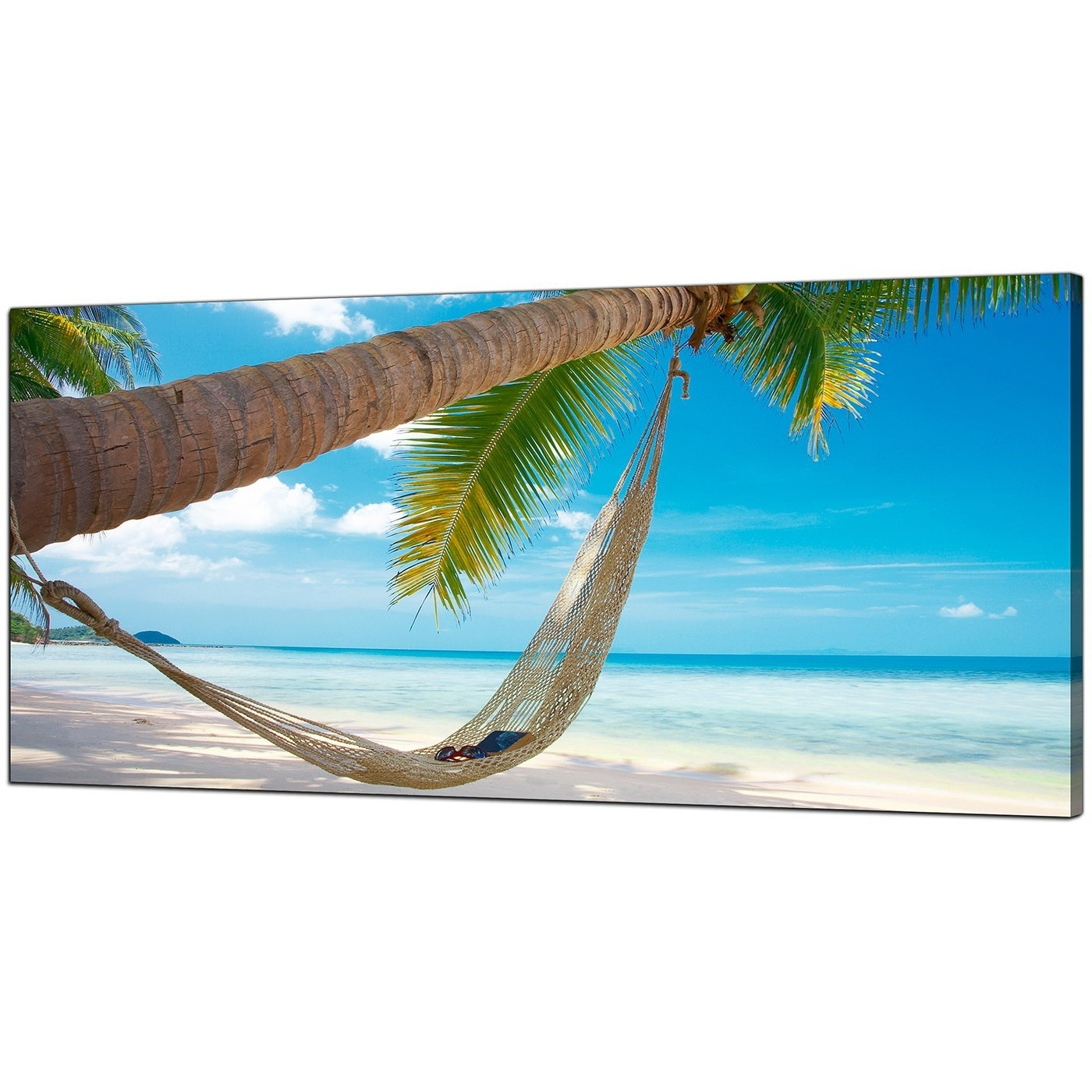 Large Blue Canvas Wall Art Of A Tropical Beach Intended For Preferred Beach Wall Art (View 11 of 15)