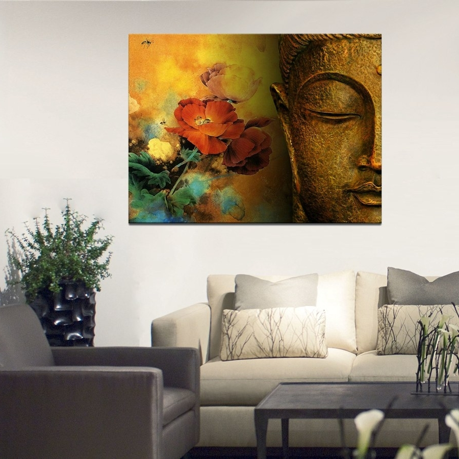 Large Canvas Wall Art With Regard To Famous Large Canvas Print Buddha Well Designed With Lotus Flower Canvas (View 8 of 15)