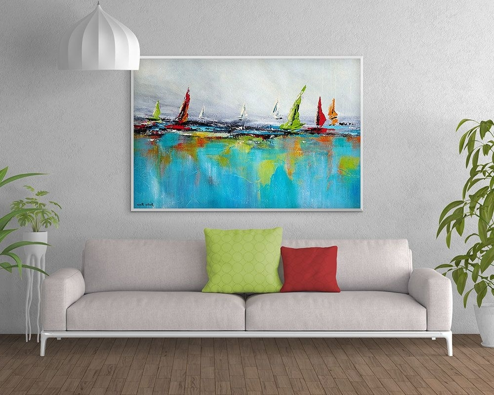 Large Coastal Wall Art Pertaining To 2017 Large Coastal Wall Art, Giclee Print, Boat Painting, Blue Red Green (View 7 of 15)