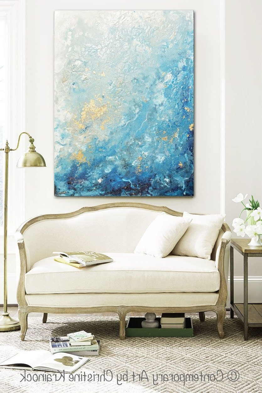 Large Coastal Wall Art Pertaining To Well Known Giclee Print Large Art Abstract Painting Blue White Wall Art Home (View 2 of 15)