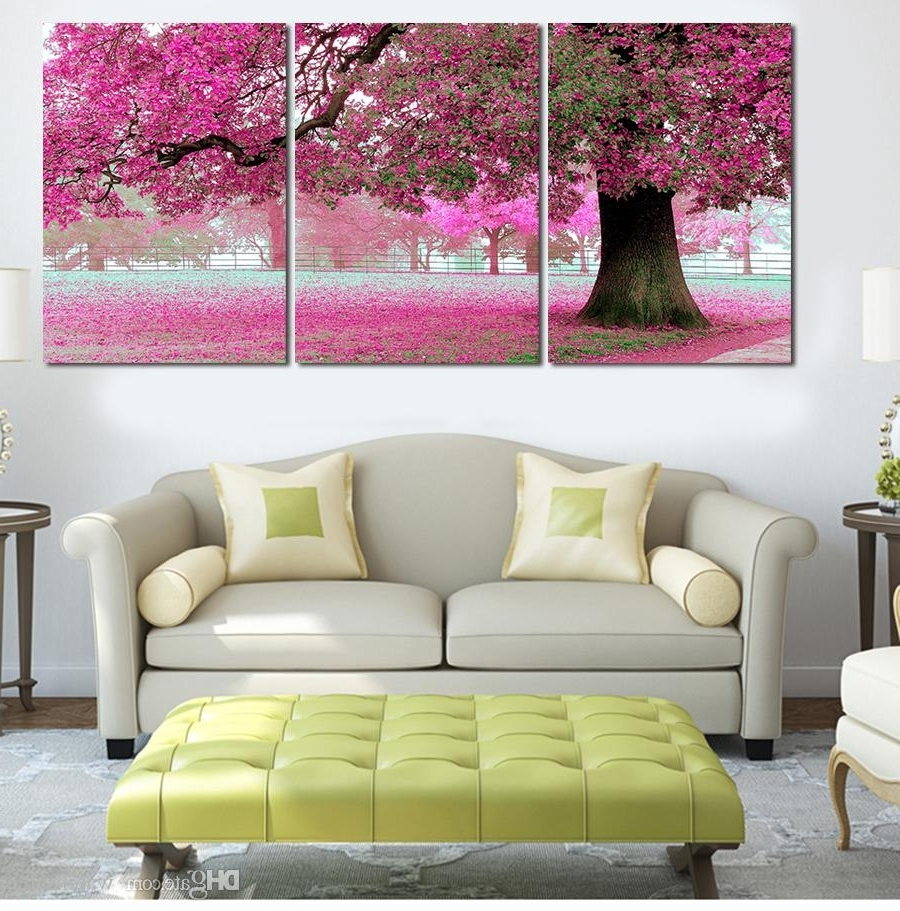 Large Contemporary Wall Art Intended For Recent 2018 3 Panel Canvas Art Pink Cherry Blossom Large Modern Wall Art (View 5 of 15)