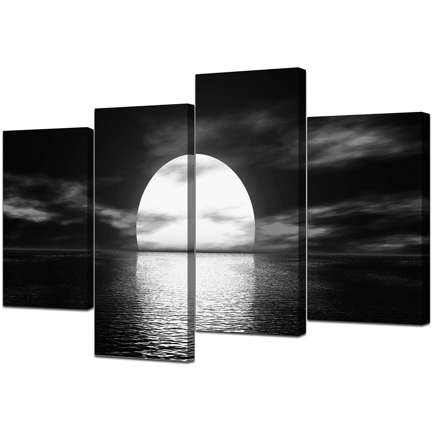 Large Framed Canvas Wall Art With Fashionable Black And White Canvas – Ocean Sunset Canvas Wall Art (View 9 of 15)