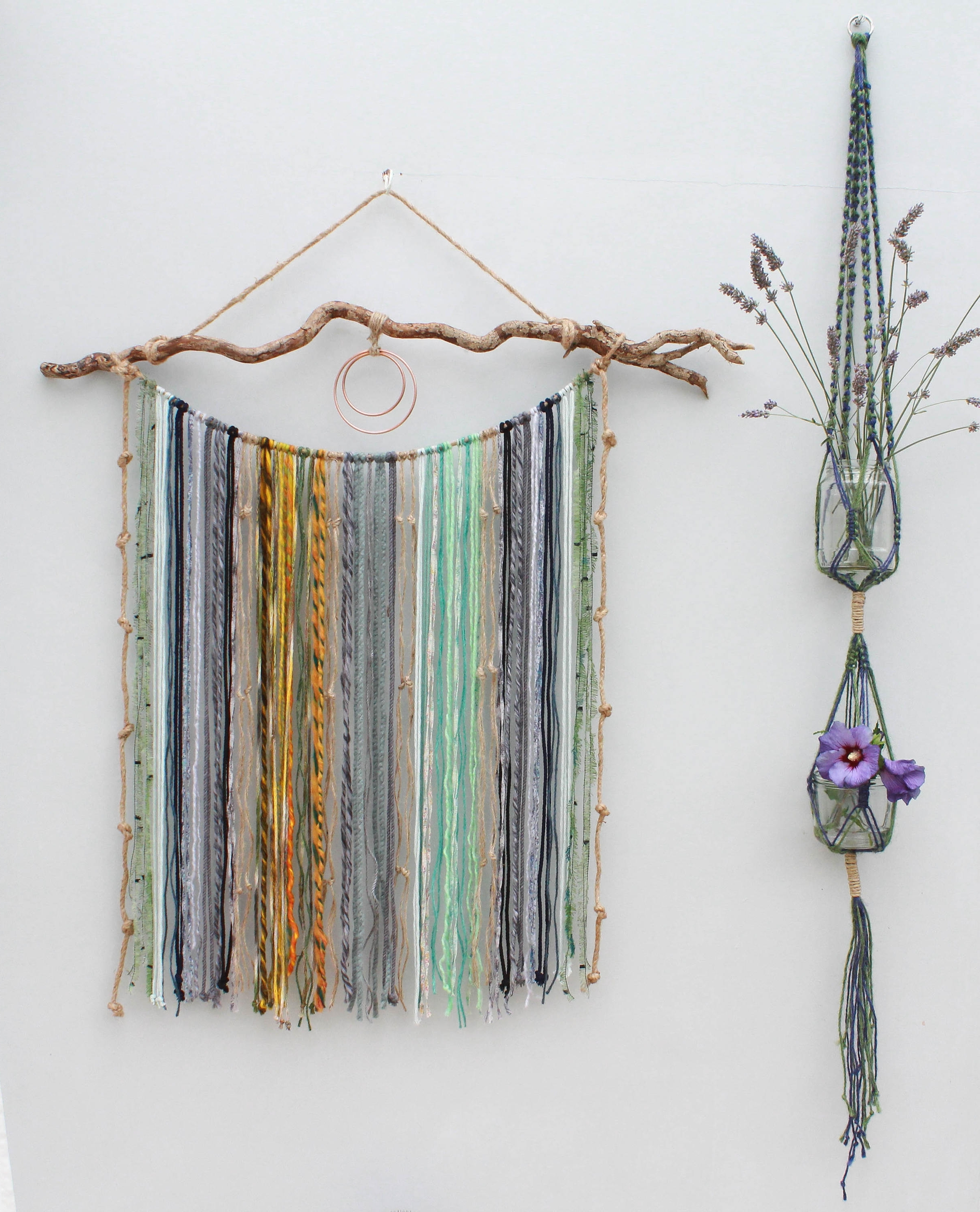 Large Macrame Yarn Wall Hanging On Driftwood/ Mixed Media Hanging In Best And Newest Yarn Wall Art (View 13 of 15)