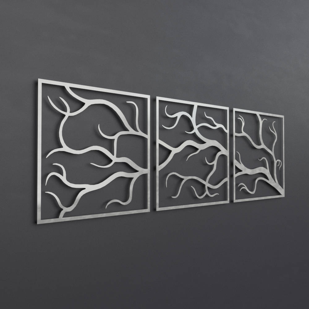 Large Metal Wall Art Regarding Fashionable Tree Branches Outdoor Metal Wall Art, 3 Piece Multi Panel Wall Art (View 7 of 15)