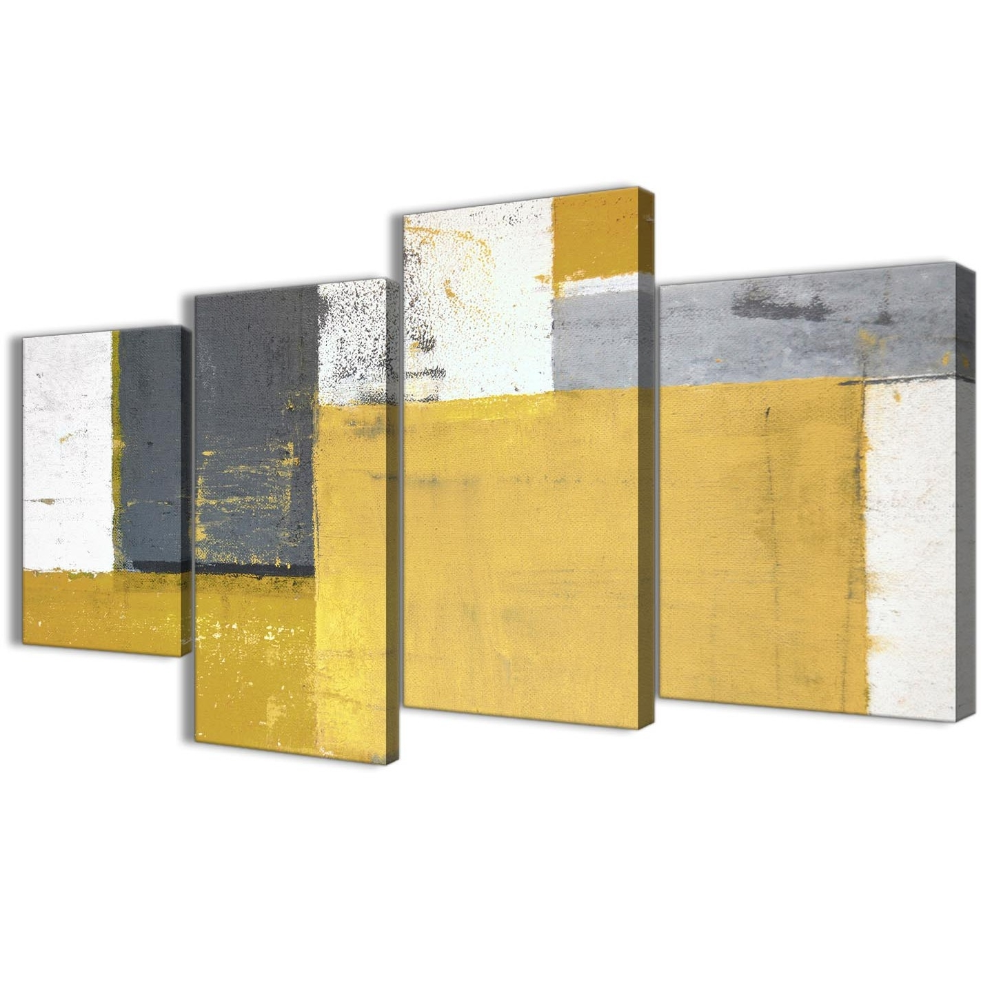 Large Mustard Yellow Grey Abstract Painting Canvas Wall Art Print Throughout Most Recently Released Yellow And Grey Wall Art (View 8 of 15)