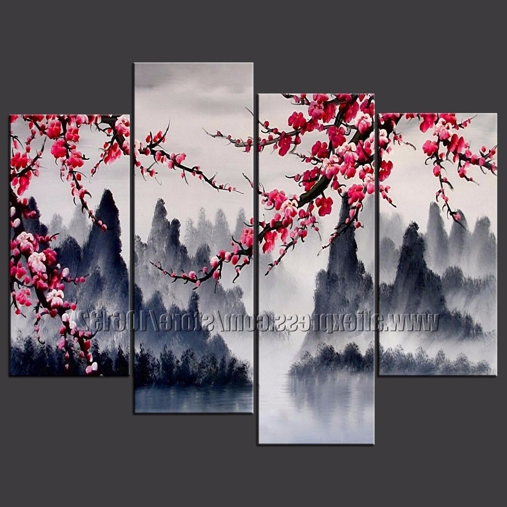 Large Painting Chinese Wall Art Framed 4 Panel Interior Decoration Regarding Best And Newest Chinese Wall Art (View 1 of 15)