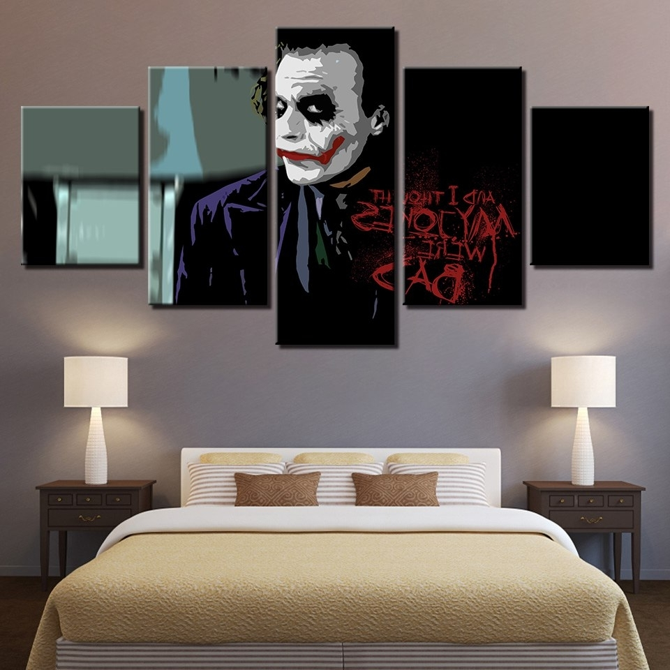 Large Poster Hd Printed Painting Canvas Home Decoration 5 Panel Intended For Well Liked Joker Wall Art (View 13 of 15)
