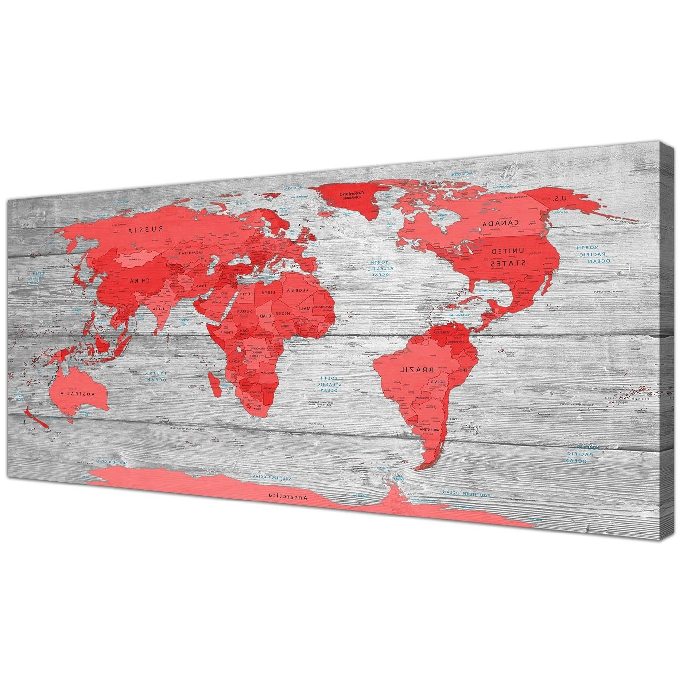 Large Red Grey Map Of The World Atlas Canvas Wall Art Print Modern With Trendy Red Wall Art (View 2 of 15)