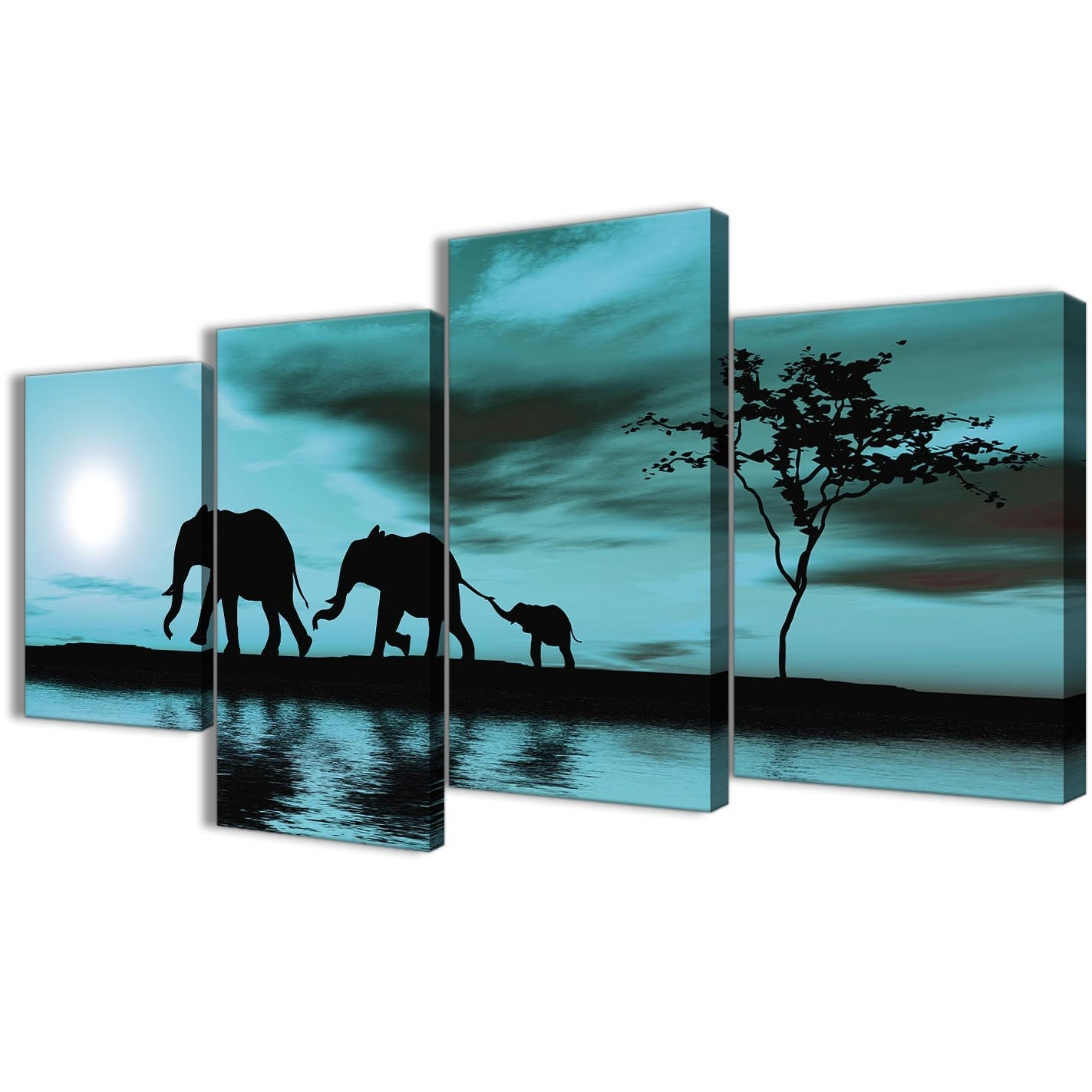 Large Teal African Sunset Elephants Canvas Wall Art Print – Multi 4 Regarding Widely Used Oversized Teal Canvas Wall Art (View 5 of 15)