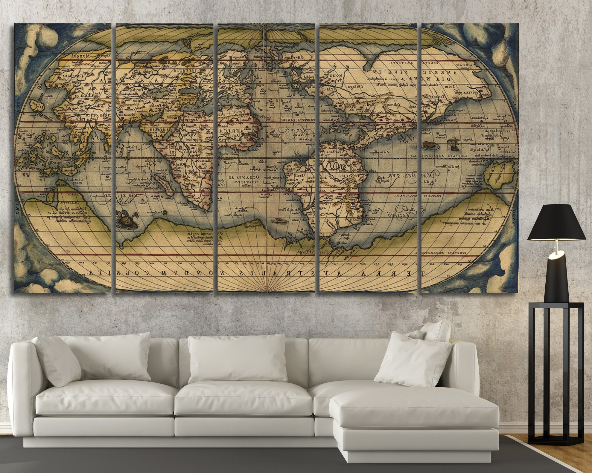 Large Vintage Wall Art Old World Map At Texelprintart Pertaining To Best And Newest Vintage Wall Art (View 4 of 15)