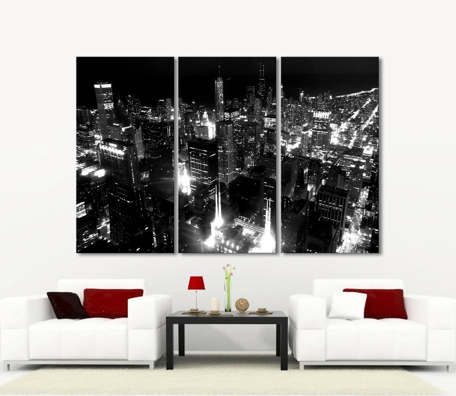 Large Wall Art Canvas Print Chicago City Skyline At Night – 3 Panel Inside Well Known Chicago Wall Art (View 6 of 15)