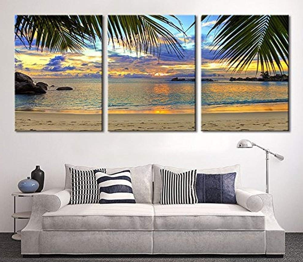 Large Wall Art In Current Amazon: Tanda Extra Large Wall Art Palm And Beach Canvas Print (View 14 of 15)
