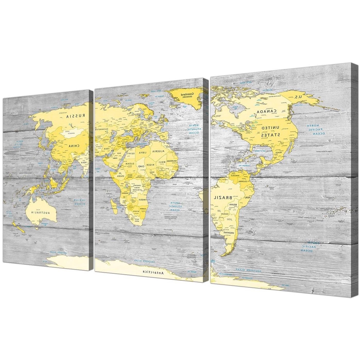 Large Yellow Grey Map Of World Atlas Canvas Wall Art Print Pertaining To 2018 Map Wall Art Prints (View 2 of 15)