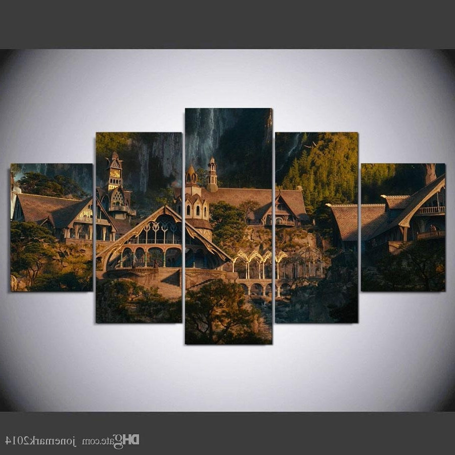 Latest 2018 5 Panel Framed Hd Printed Lord Of The Rings Hobbit Castle Wall With Lord Of The Rings Wall Art (View 1 of 15)
