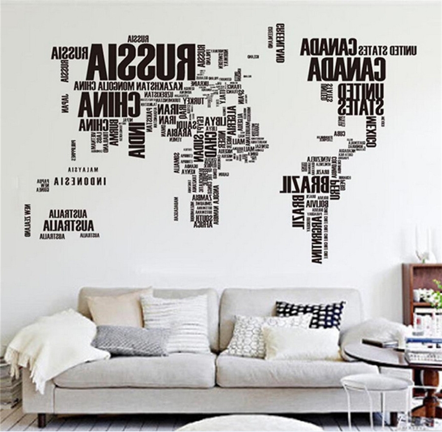 Latest Big Global World Map Atlas Removable Vinyl Wall Art Decal Sticker In Vinyl Wall Art World Map (View 12 of 15)