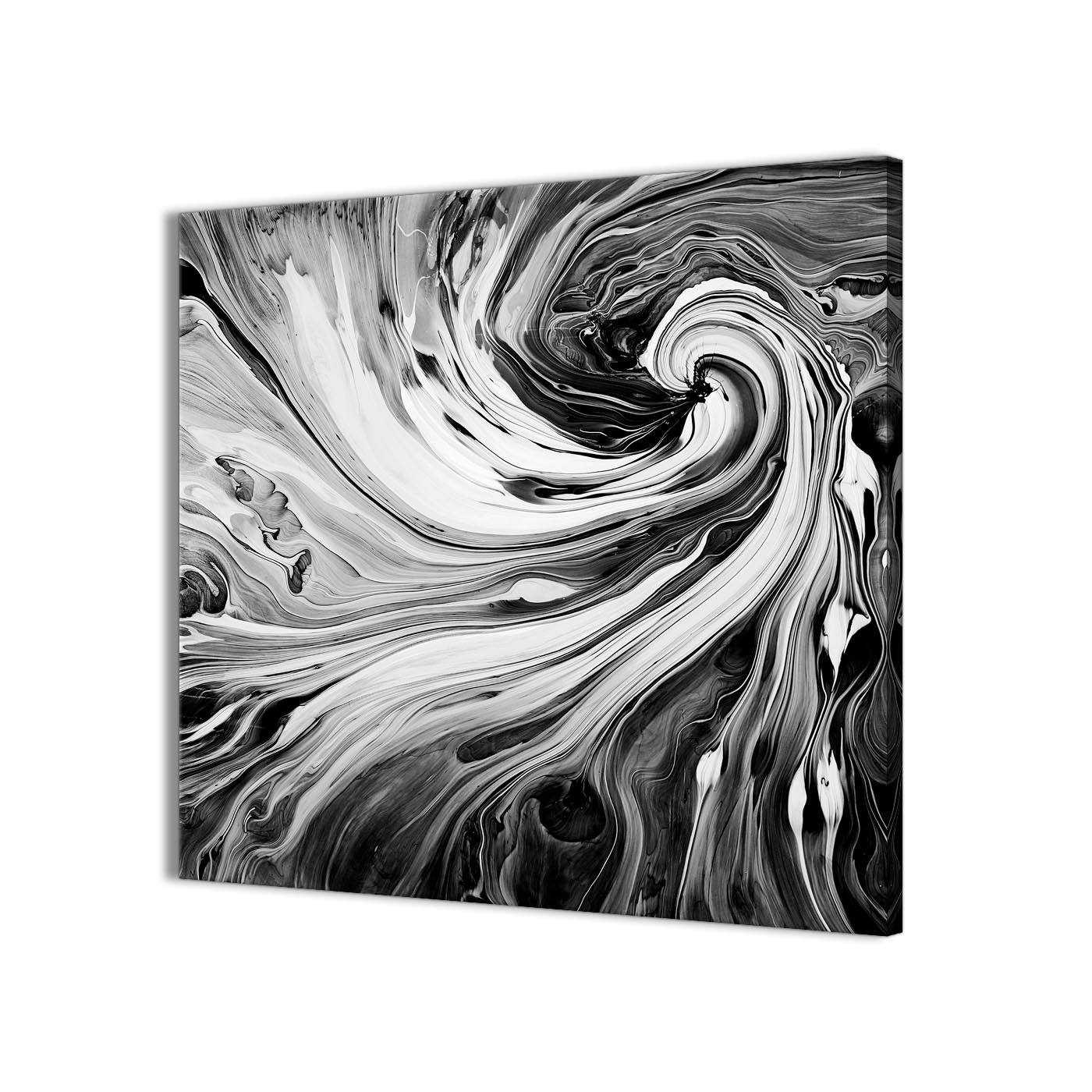 Latest Black Wall Art With Regard To Black White Grey Swirls Modern Abstract Canvas Wall Art – 49Cm (View 9 of 15)