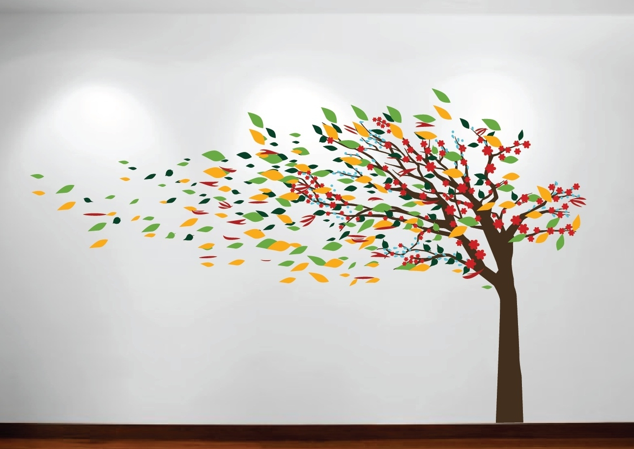 Latest Blowing Tree Cherry Blossom Decal #1181 – Innovativestencils With Tree Wall Art (View 12 of 15)