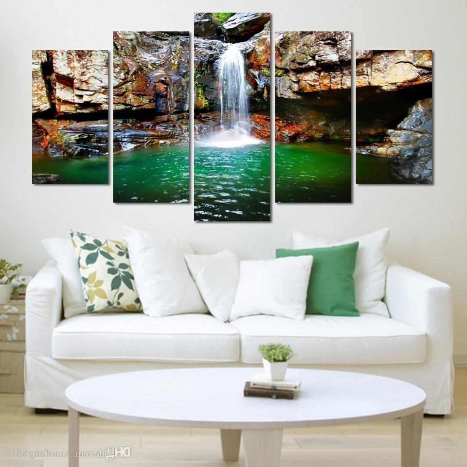 Latest Cheap Large Canvas Wall Art In Buy Cheap Paintings For Big Save, 5 Panel Waterfall Painting Canvas (View 8 of 15)