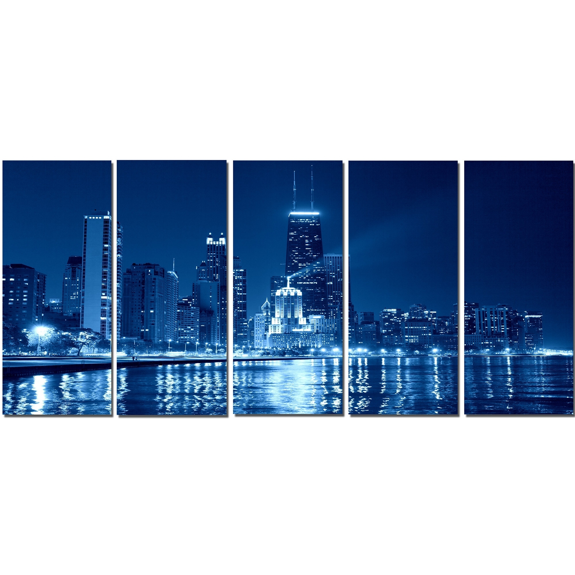 Latest Chicago Wall Art Pertaining To Designart Blue Chicago Skyline Night 5 Piece Wall Art On Wrapped (View 8 of 15)
