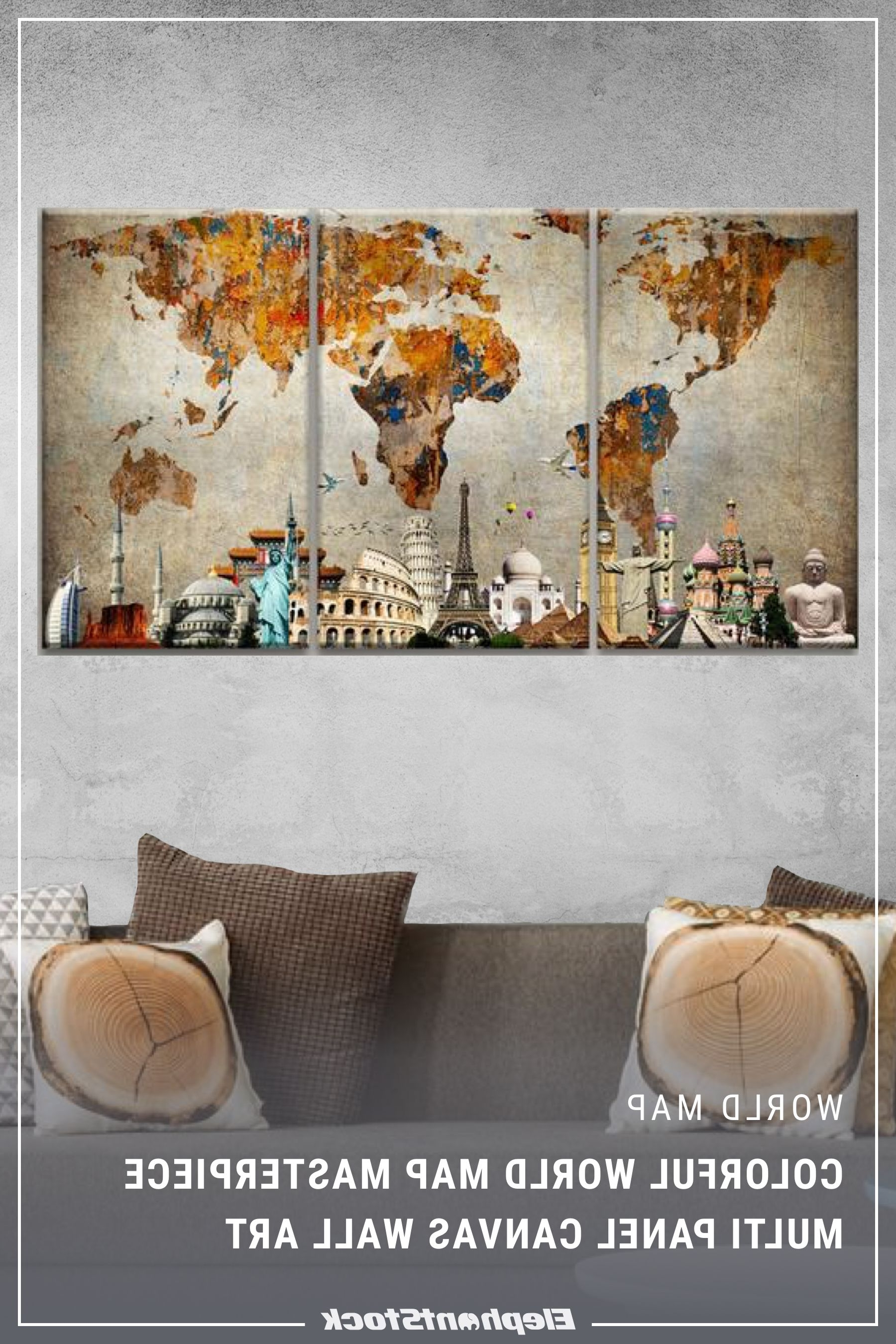 Latest Colorful World Map Masterpiece Multi Panel Canvas Wall Art (View 6 of 15)