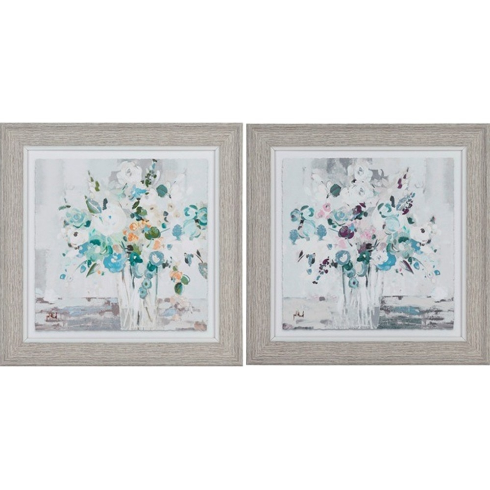 Latest Country French Inspired Wall Art Floral 25X25Cm Framed Print Set Of For Set Of 2 Framed Wall Art (View 11 of 15)