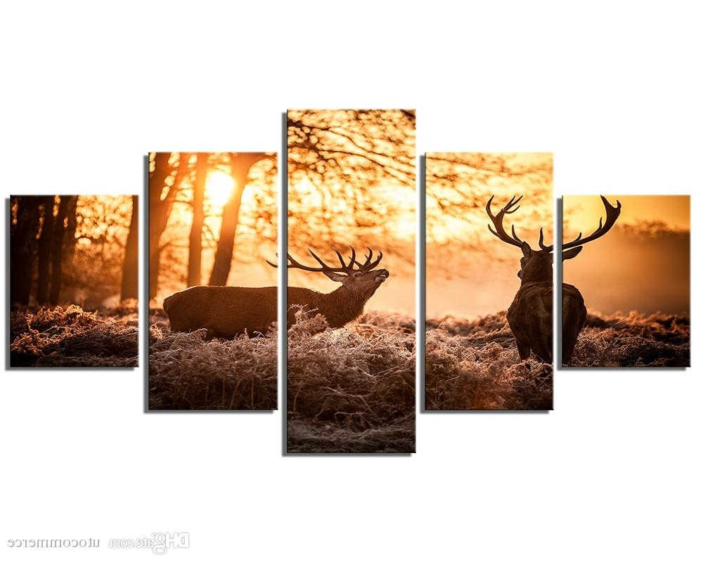 Latest Deer Canvas Wall Art Regarding 2018 Deer Autumn Forest Landscape Giclee Printing On Canvas For (View 8 of 15)
