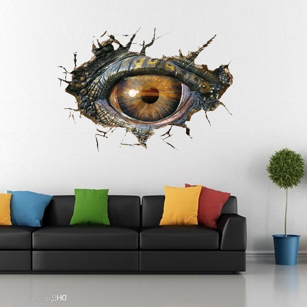 Latest Dinosaur Eyes 3D Wall Stickers Creative Personality Sitting Room Inside 3D Wall Art (View 11 of 15)