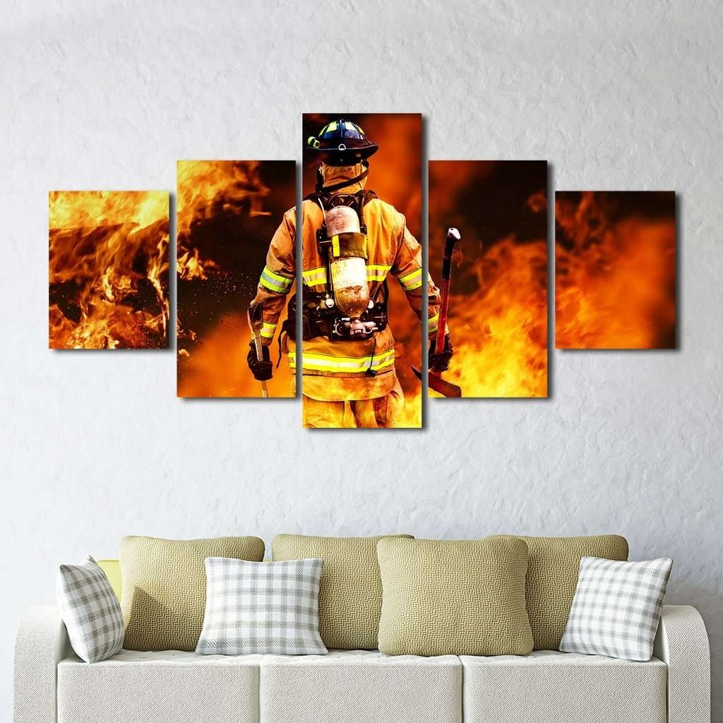 Latest Fireman Fighting Fire Iaff Multi Panel Wall Art Canvas – Mighty Intended For Wall Art Canvas (View 15 of 15)