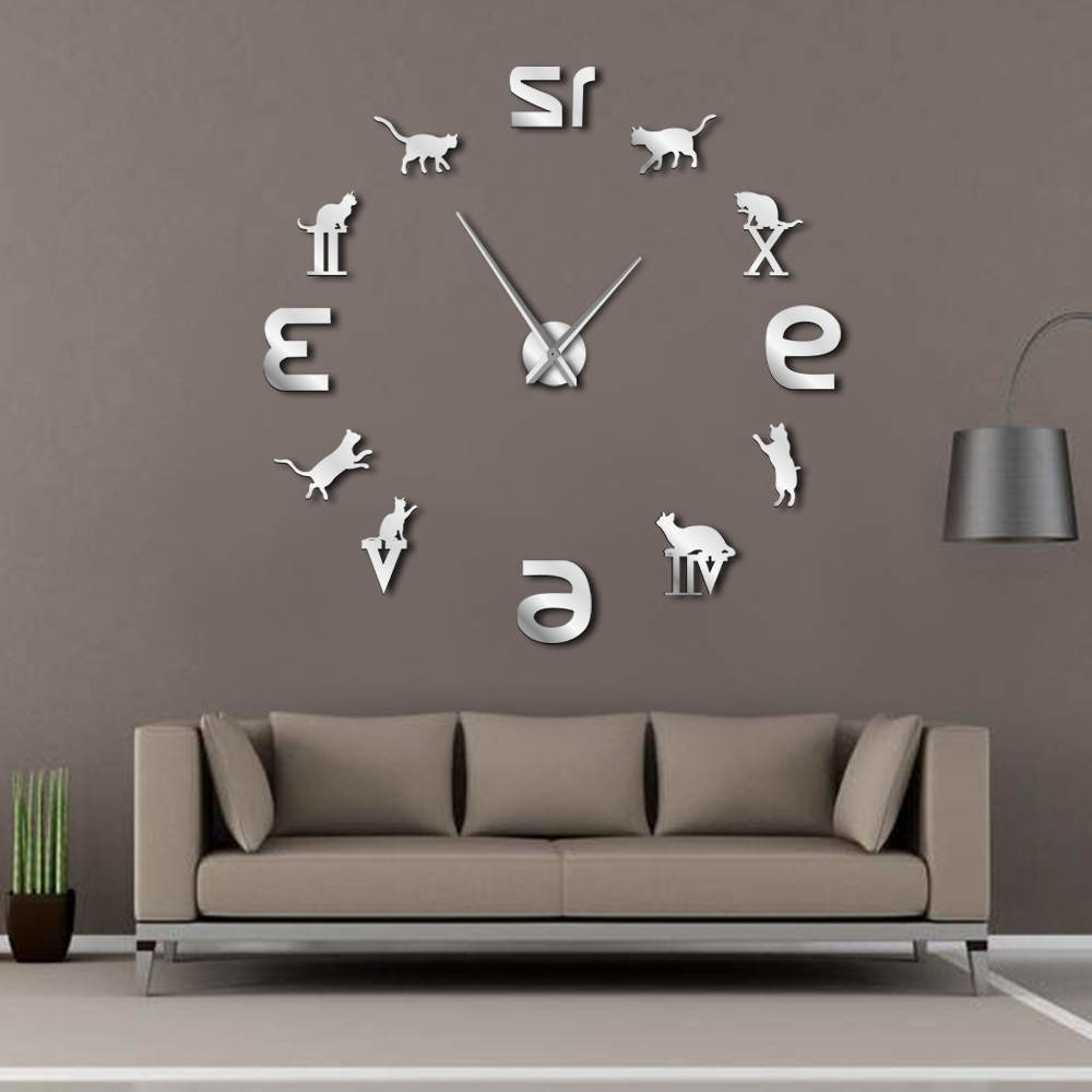 Latest Giant Wall Art In Roman Arabic Numerals Mixed Diy Large Wall Clock Kitty Cat (View 6 of 15)