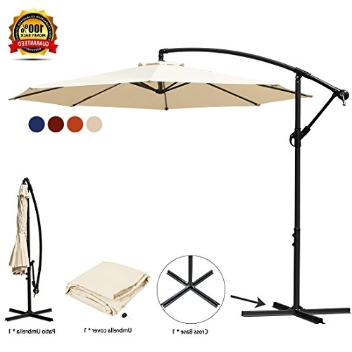 Latest Hanging Patio Umbrellas Inside Jearey Patio Umbrella 10 Ft Offset Cantilever Umbrella Outdoor (View 13 of 15)