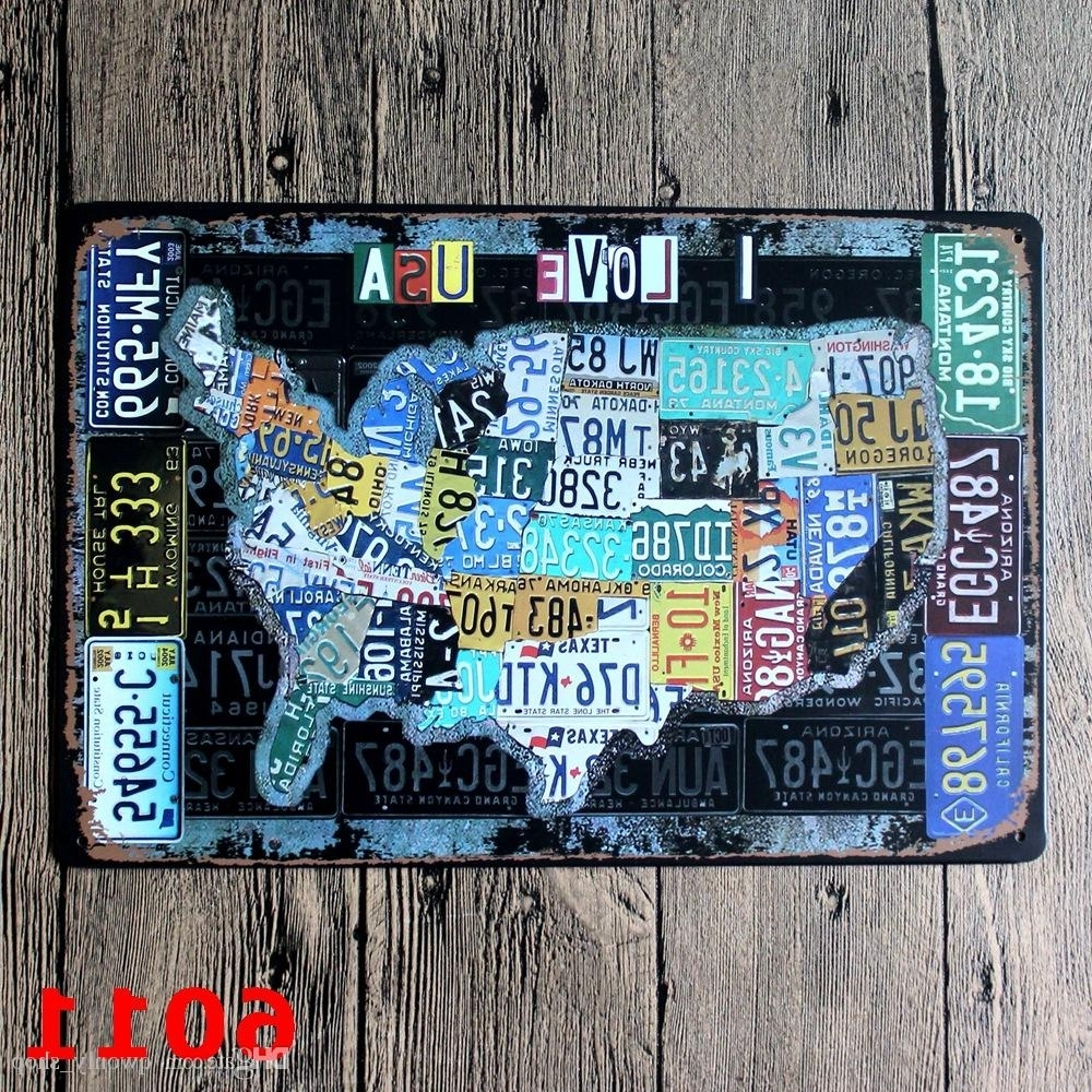 Latest License Plates Map Vintage Tin Sign Bar Pub Home Wall Decor European Regarding License Plate Map Wall Art (View 12 of 15)