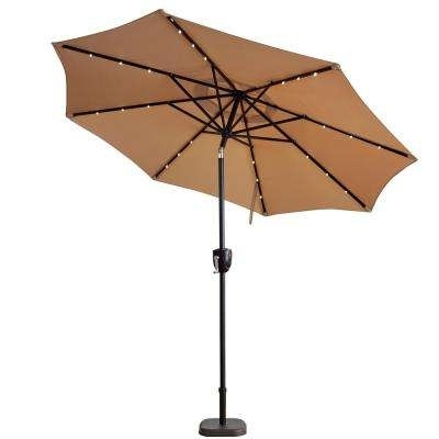 Latest Lighted Umbrellas For Patio Inside Solar Led Lighting Included – Patio Umbrellas – Patio Furniture (View 9 of 15)