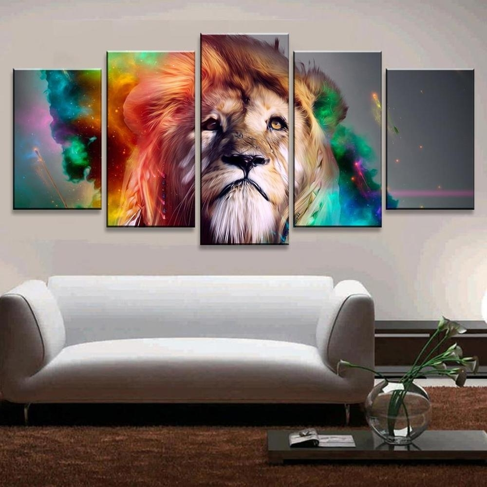 Latest Lion Wall Art Intended For 5 Pcs/set Colorful Lion Wall Art Picture Print Oil Painting On (View 6 of 15)
