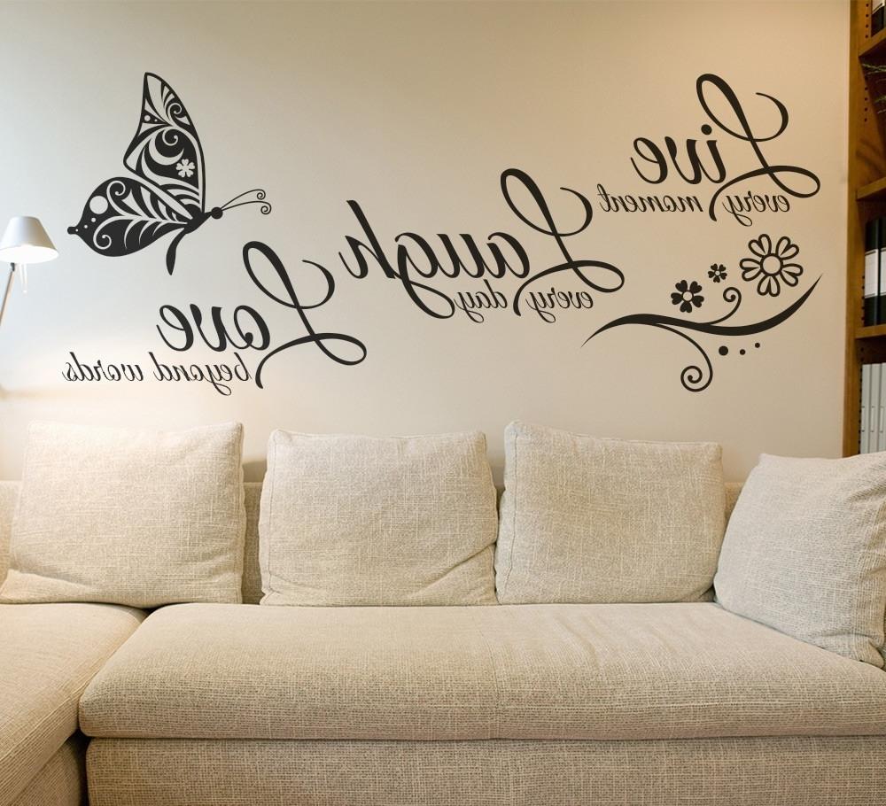 Latest Love Wall Art With Regard To Live Laugh Love Butterfly Flower Wall Art Sticker – Gemdrip (View 3 of 15)