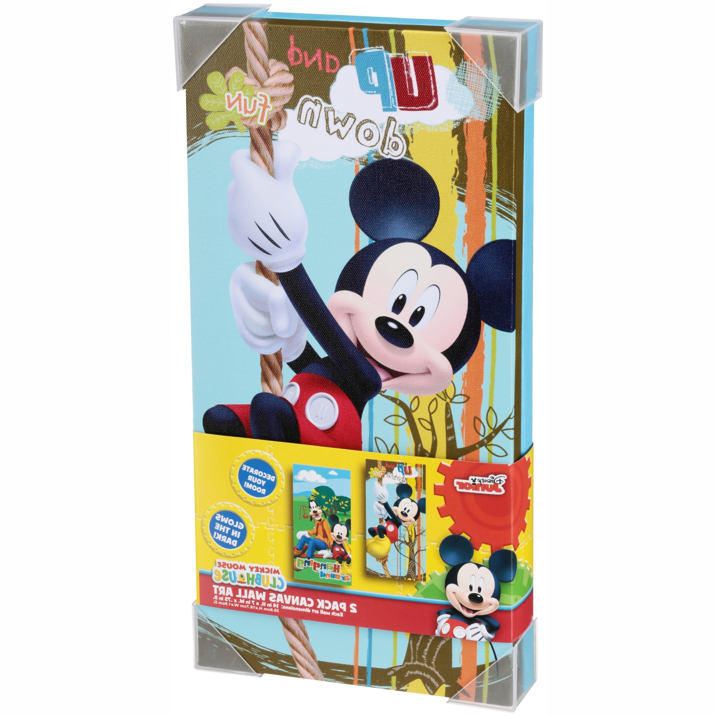 Latest Mickey Mouse Canvas Wall Art For Disney Mickey Mouse Glow In The Dark 2 Pack Canvas Wall Art (View 7 of 15)
