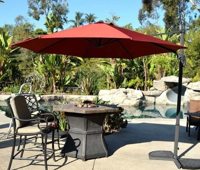 Latest Offset Patio Umbrella – Rust Red 10' Cantileverquality Patio Intended For Red Patio Umbrellas (View 5 of 15)