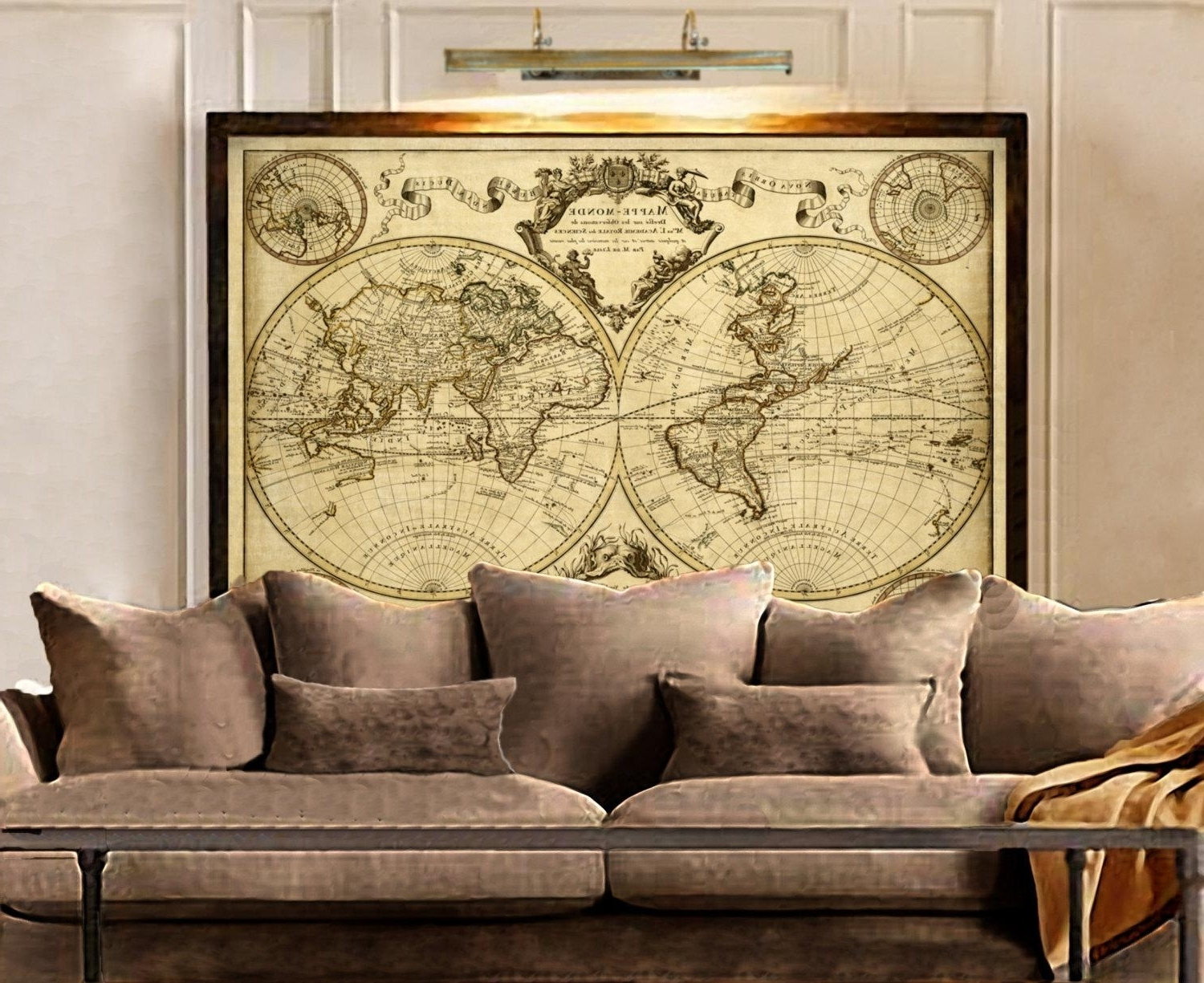Latest Old World Map Wall Art Intended For Delighful Map Featured Image Of Framed World Map Wall Art And (View 3 of 15)