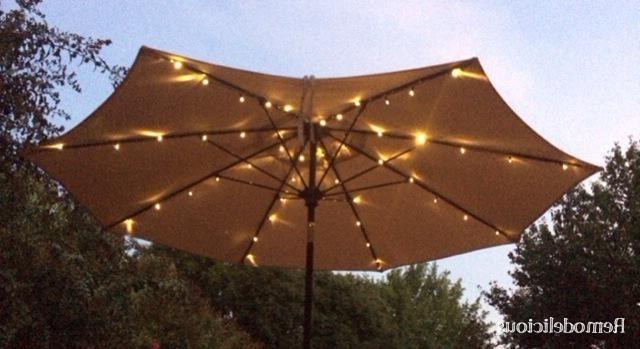 Latest Patio Umbrellas With Solar Led Lights Pertaining To Stunning Solar Lighted Patio Umbrella Patio Umbrella Solar Led (View 2 of 15)