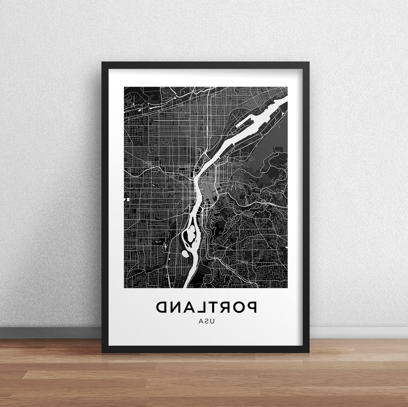 Latest Portland Map Print Portland Map Download City Map Portland Intended For Portland Map Wall Art (View 3 of 15)