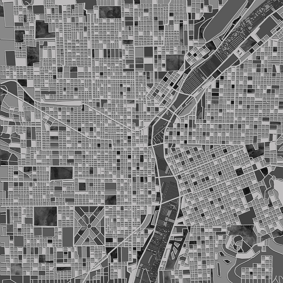 Latest Portland Map Wall Art For Portland Map Black And White Paintingbekim Art (View 8 of 15)