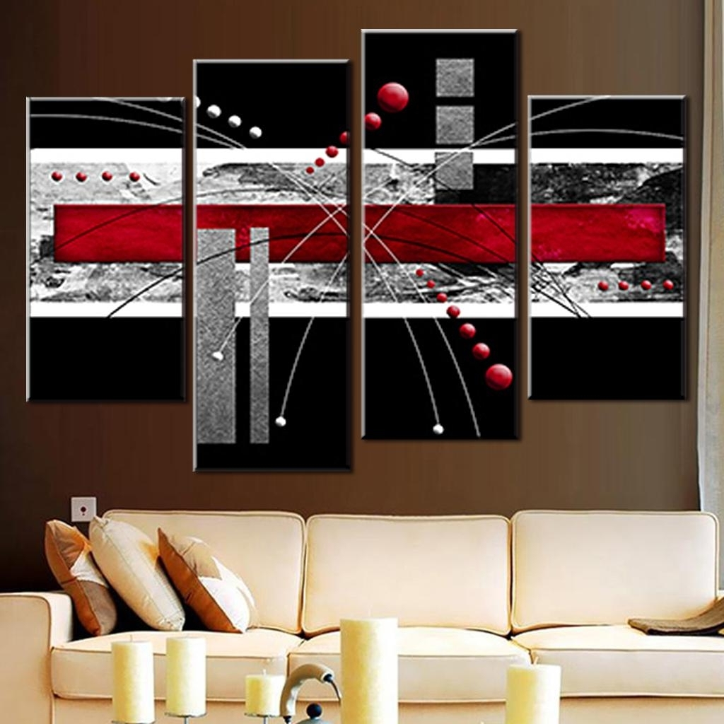 Latest Red And Black Canvas Wall Art Pertaining To Black Abstract Wall Art 4 Pcs/set Canvas Wall Art Picture Red Black (View 9 of 15)