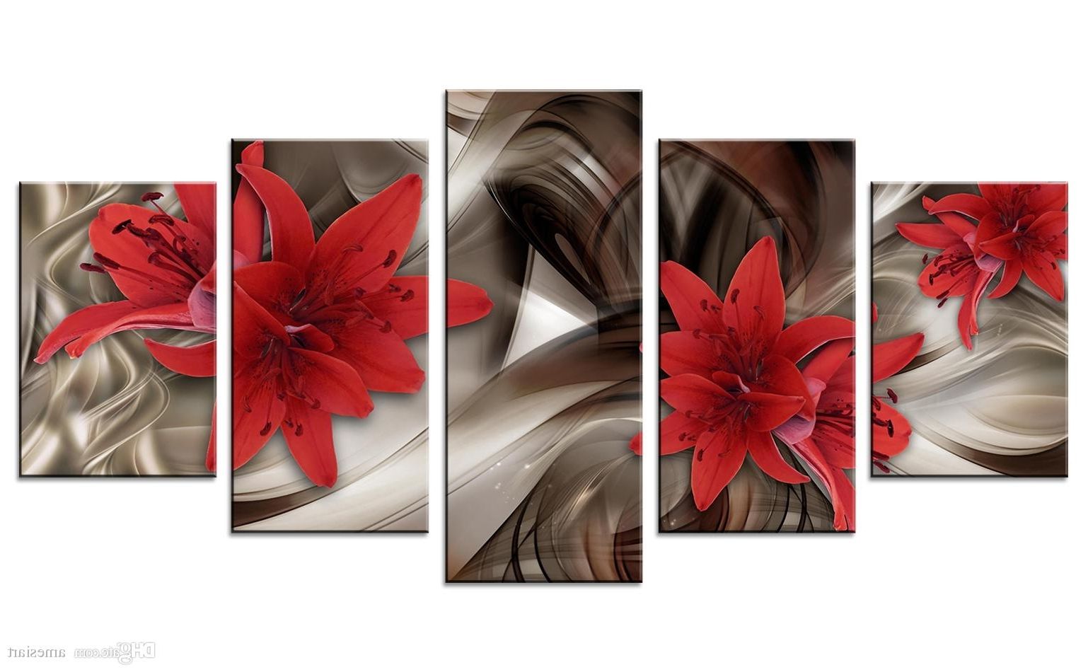 Latest Red Canvas Wall Art Intended For Amosi Art Red Lily Flowers Canvas Wall Art Abstract Lines Background (View 10 of 15)