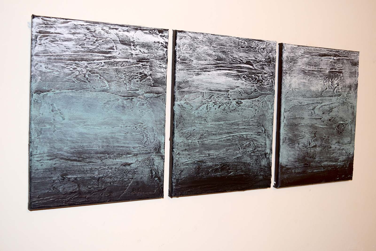"Latest Triptych Wall Art Regarding Turquoise Triptych"" Abstract Artists Triptych Art On Canvas (View 8 of 15)"