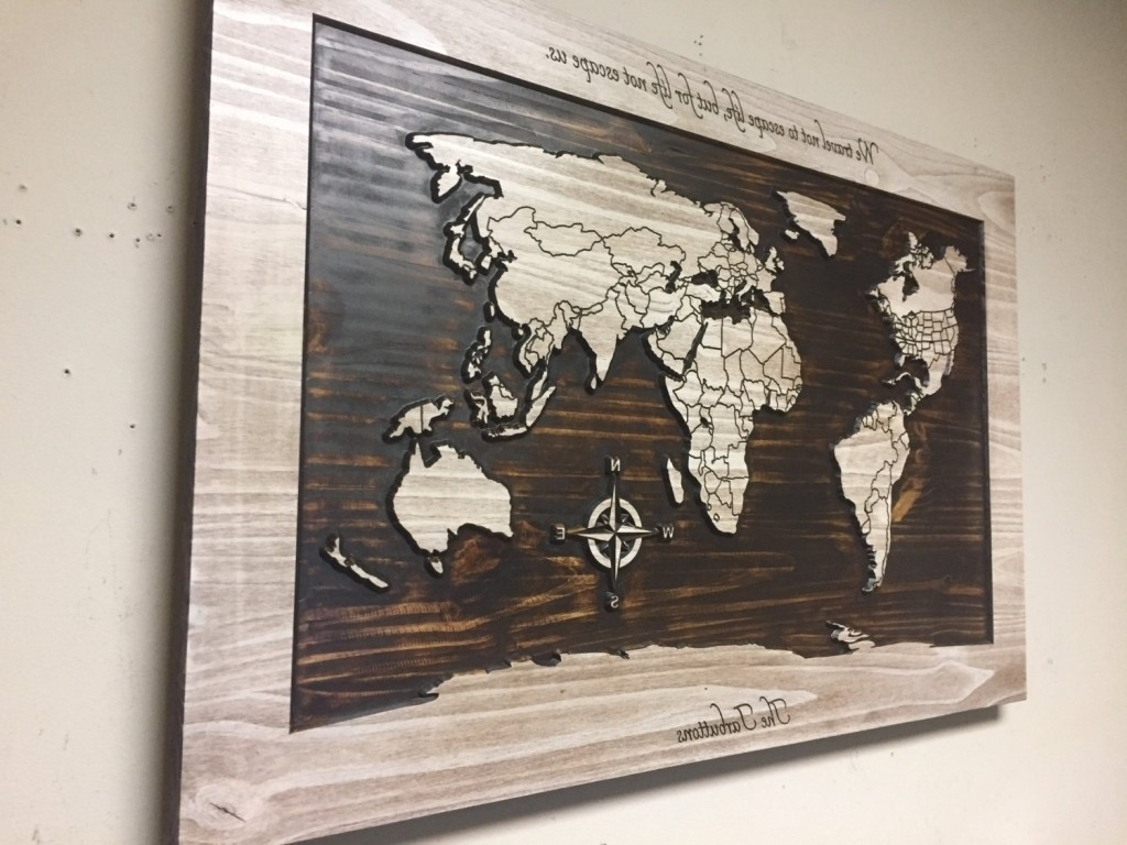 Latest Wall Art World Map For Wood Wall Art World Map Carved Wooden With Within In In Wall Art (View 7 of 15)