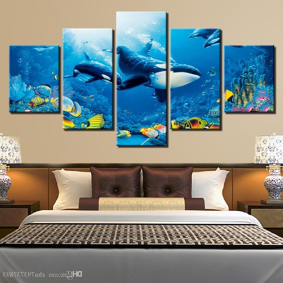 Latest Whale Canvas Wall Art Pertaining To 2018 Hd Prints Room Wall Art Framework Deep Blue Ocean Whale (View 14 of 15)