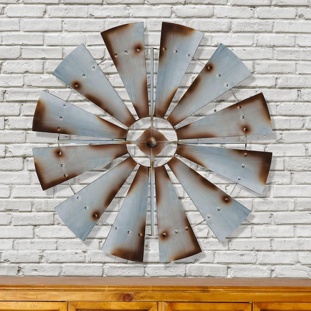 Latest Windmill Wall Art With Regard To Metal Silver Rust Round Windmill Wall Decor Fh1057 – The Home Depot (View 15 of 15)